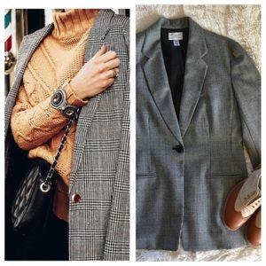 anne klein • vintage plaid classic gray blazer